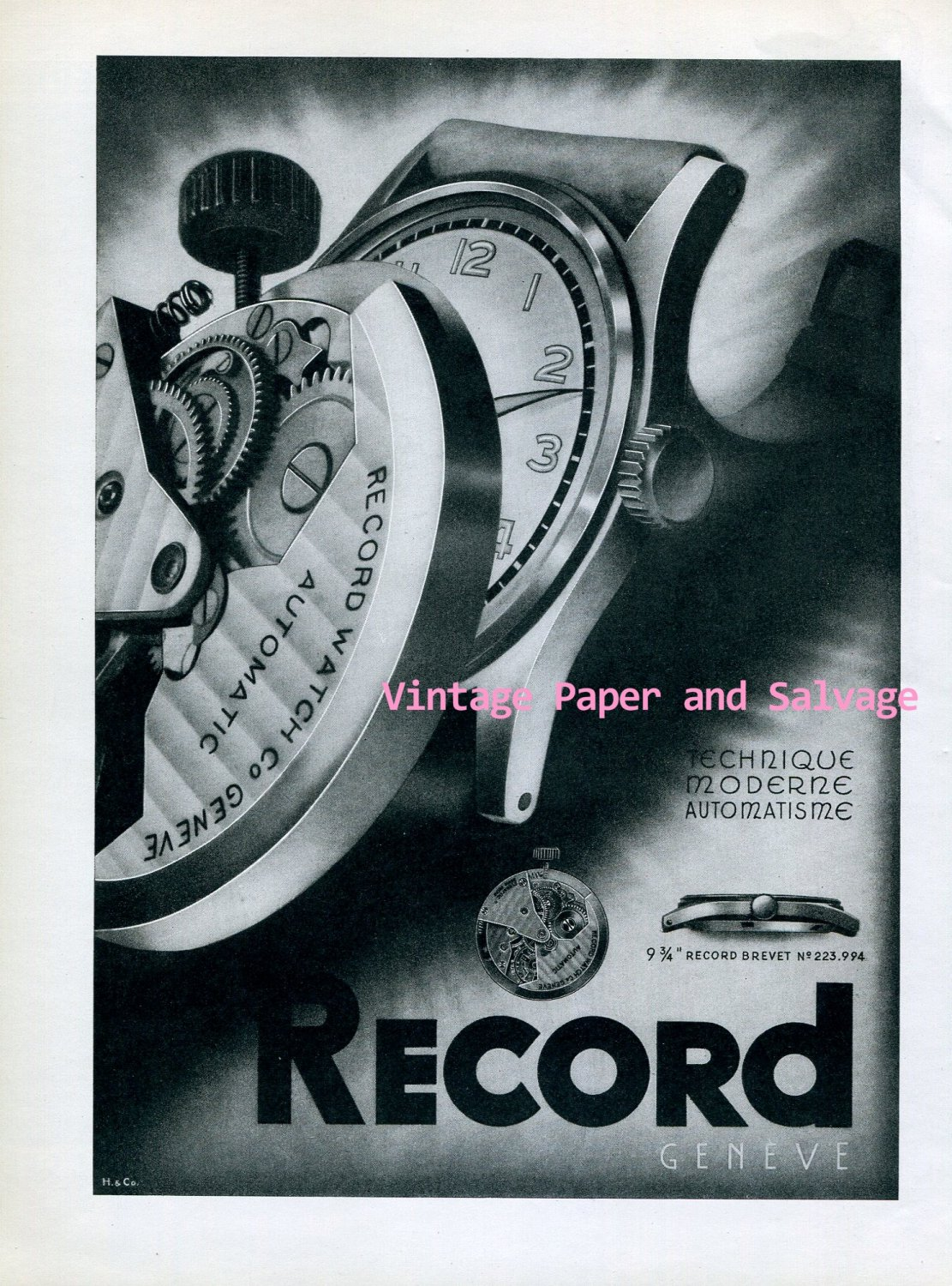 Vintage 1945 Record Watch Company Geneve Switzerland 1940s Swiss Print Ad Publicite Suisse