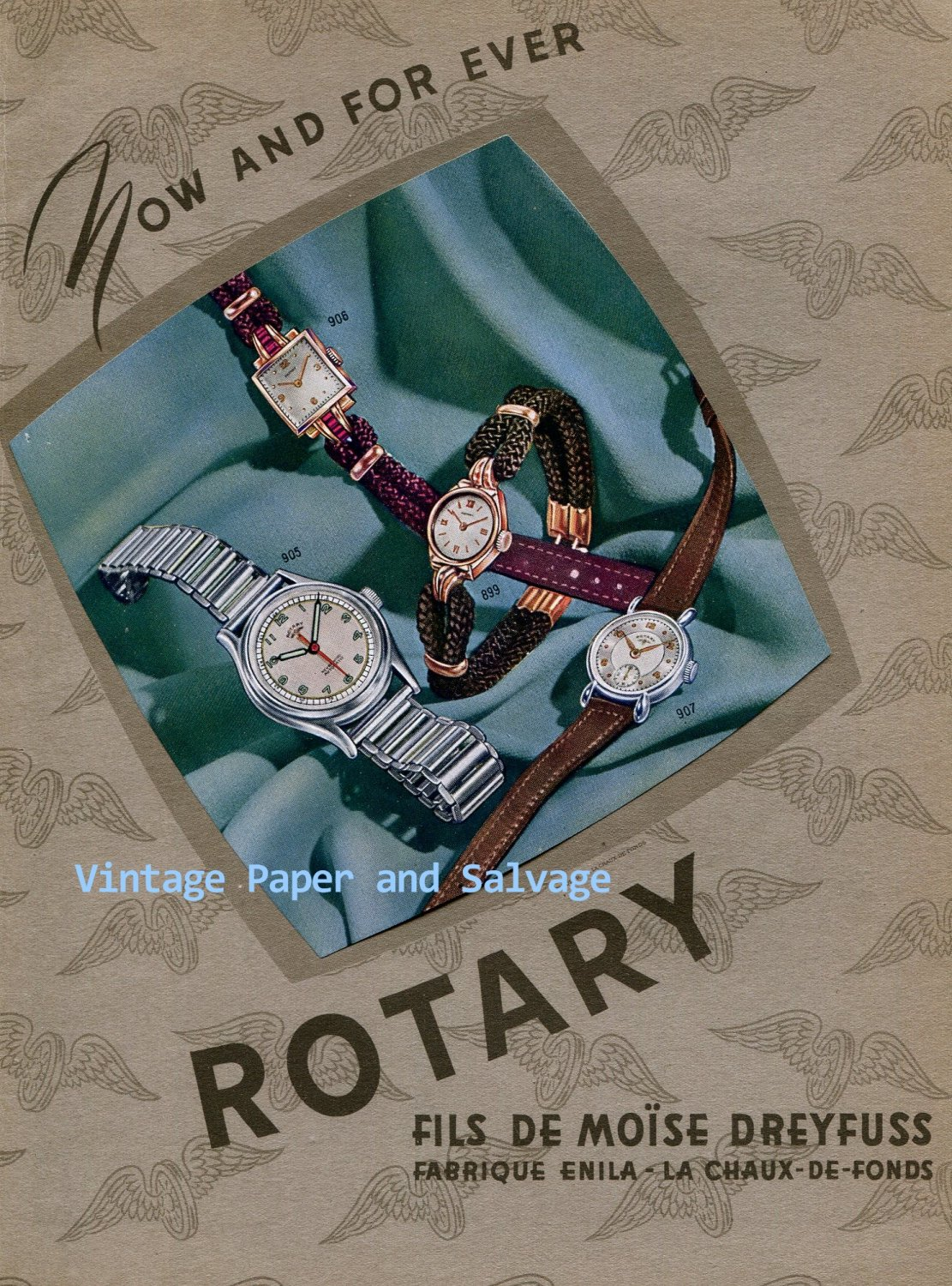 Vintage 1945 Rotary Fils de Moise Dreyfuss Watch Company Switzerland Swiss Ad Advert Suisse