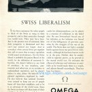 1952 Omega Watch Company Swiss Liberalism Vintage 1950s Swiss Print Ad Suisse Switzerland