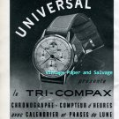 Vintage 1945 Universal Tri-Compax Watch Advert Universal Geneve 1940s Swiss Print Ad Suisse