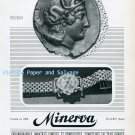 Vintage 1945 Minerva Watch Company Villeret Switzerland 1940s Swiss Ad Advert Suisse