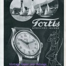 Fortis Watch Company Switzerland Vintage 1945 Swiss Print Ad Suisse Advert Sailing