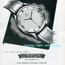 Omega Automatic Watch Advert Vintage 1945 Swiss Print Ad Publicite Suisse Switzerland