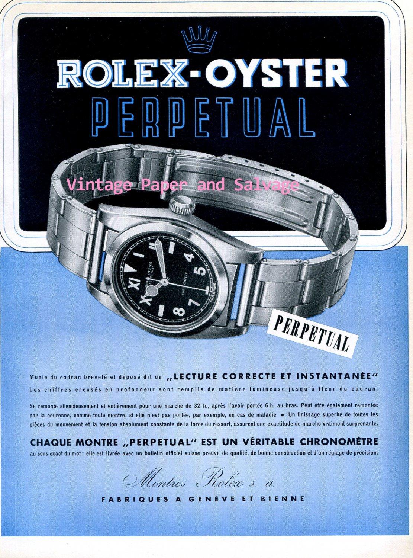Original 1945 Montres Rolex SA Rolex Oyster Perpetual Advert Publicite Suisse Swiss Ad Vintage 1940s