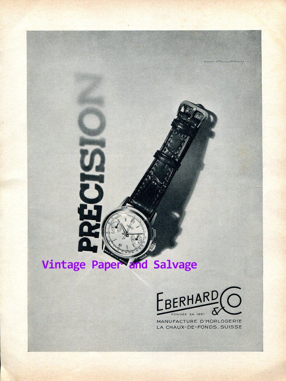 1952 Eberhard & Co Watch Company Switzerland Vintage 1950s Swiss Ad Advert Suisse