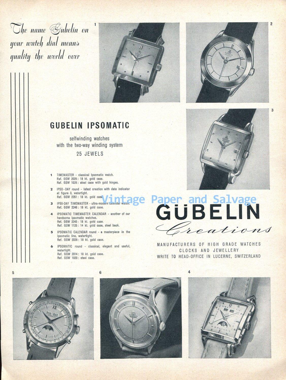 1952 Gubelin Ipsomatic Watch Advert Ipso Timemaster Vintage 1950s Swiss Print Ad  Suisse Switzerland