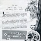 Vintage 1952 Vacheron Constantin Watch Company L'Heure Exacte Swiss Ad Advert Suisse Switzerland
