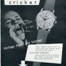 1952 Vulcain Cricket Wrist Watch Advert Vintage 1950s Swiss Print Ad Suisse Switzerland