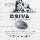 Vintage 1952 Driva Life-O-Matic Watch Advert Swiss Print Ad Driva Watch Company Switzerland