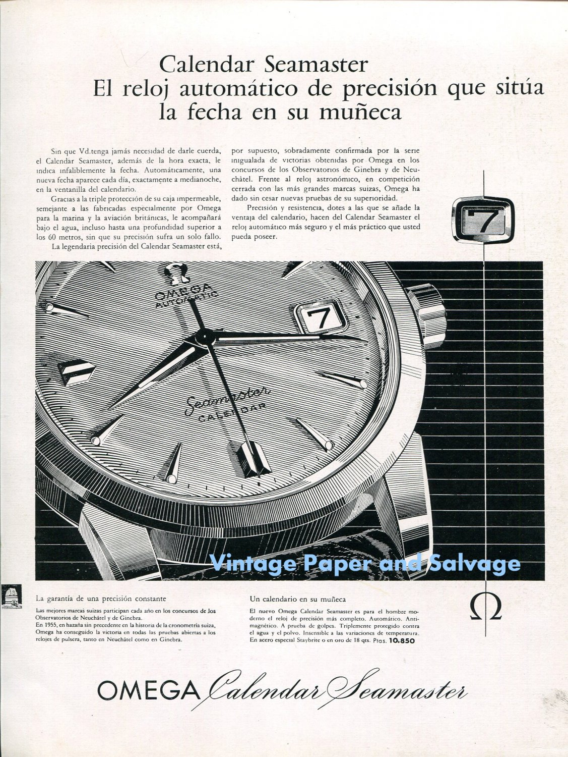 Calendario 1958.Vintage 1958 Omega Calendar Seamaster Watch Advert 1950s Spanish Print Ad Spain Omega Ch
