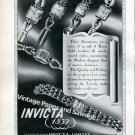 Invicta Watch Company Switzerland Vintage 1946 Swiss Ad Advert Suisse Suiza 1940s