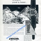 Vintage 1957 Enicar Ultrasonic Sherpas Watch Advert Mount Everert 1950s Swiss Ad Suisse