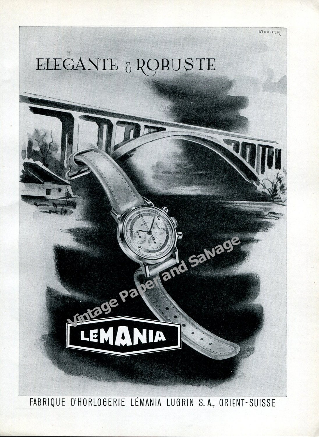 Vintage 1950 Lemania Lugrin SA Watch Company Switzerland Swiss Ad Advert Suisse