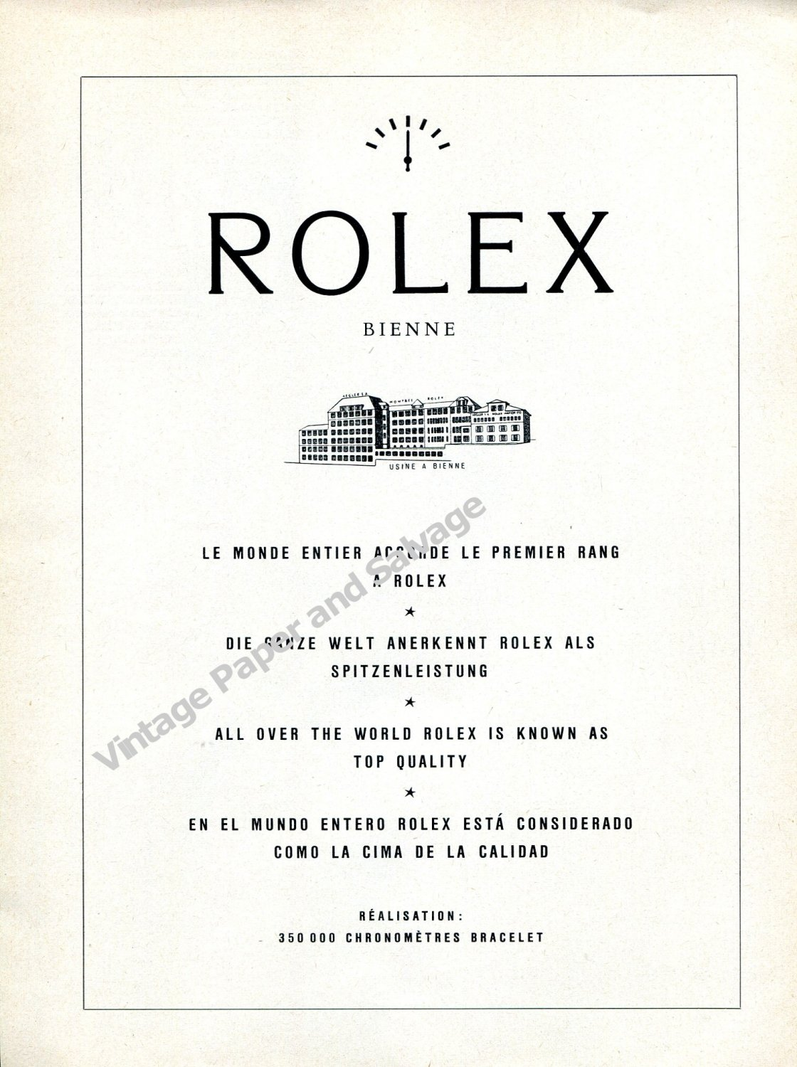 Vintage 1959 Rolex Watch Company 350,000 Chronometers Swiss Ad Advert Suisse Switzerland
