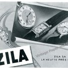 Vintage 1943 Zila Watch Company Switzerland 1940s Swiss Print Ad Advert Suisse