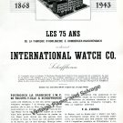 1943 IWC International Watch Company 75 Years Anniversary Switzerland Swiss