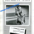 Vintage 1943 Angelus Clock Co Stolz Freres SA Pendulette Lampion Advert Swiss Print Ad Suisse