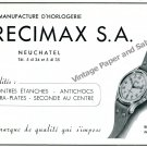 Vintage 1944 Precimax Watch Company Neuchatel Switzerland 1940s Swiss Ad Advert Suisse