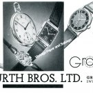 Vintage 1940 Grana Watch Company Kurth Bros. Ltd. Switzerland Swiss Ad Advert Suisse