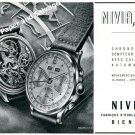 1944 Nivia Watch Company Bienne Switzerland Vintage 1940s Swiss Ad Advert Suisse