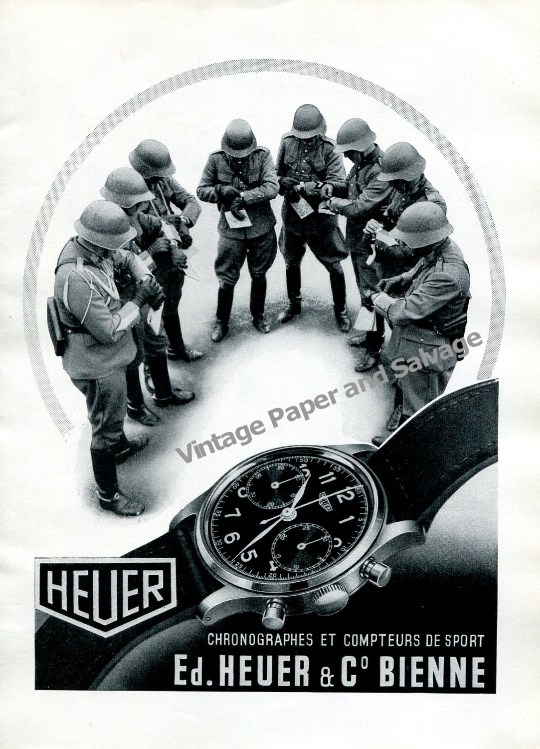 Vintage 1943 Heuer Watch Company Ed Heuer & Co SA Switzerland 1940s Swiss Ad Advert Suisse