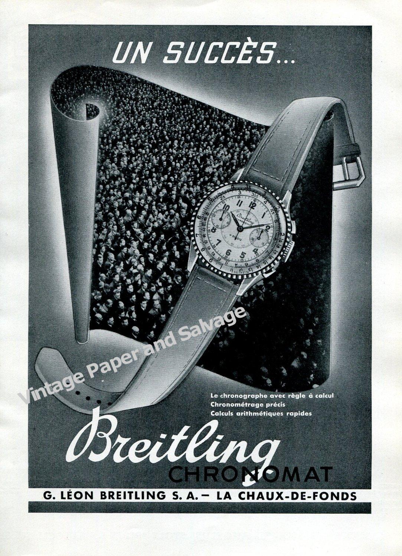 Vintage 1943 Breitling Chronomat Watch Advert 1940s Swiss Print Ad Suisse Switzerland/