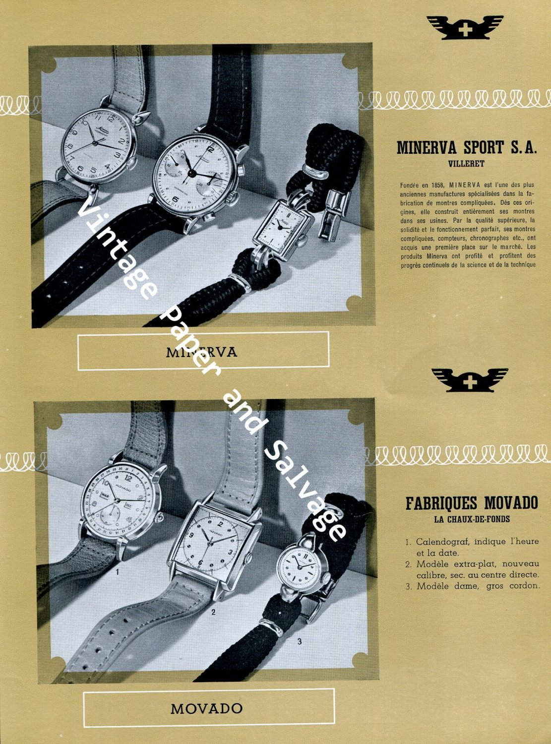 Vintage 1945 Swiss Watch Fair Angelus Heuer Jaeger-LeCoultre Omega Reconvilier Mulco Movado