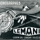 Vintage 1943 Lemania Watch Company Lugrin SA Switzerland 1940s Swiss Ad Advert Suisse
