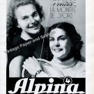Vintage 1942 Alpina Watch Company Switzerland 1940s Swiss Print Ad Advert Suisse Suiza Tennis