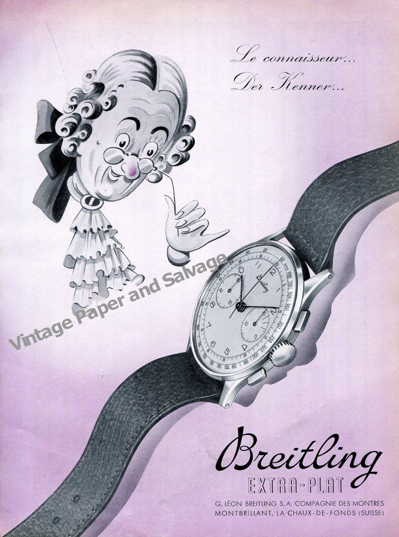 Vintage 1942 Breitling Watch Company Montbrillant Switzerland 1940s Swiss Ad Advert Suisse