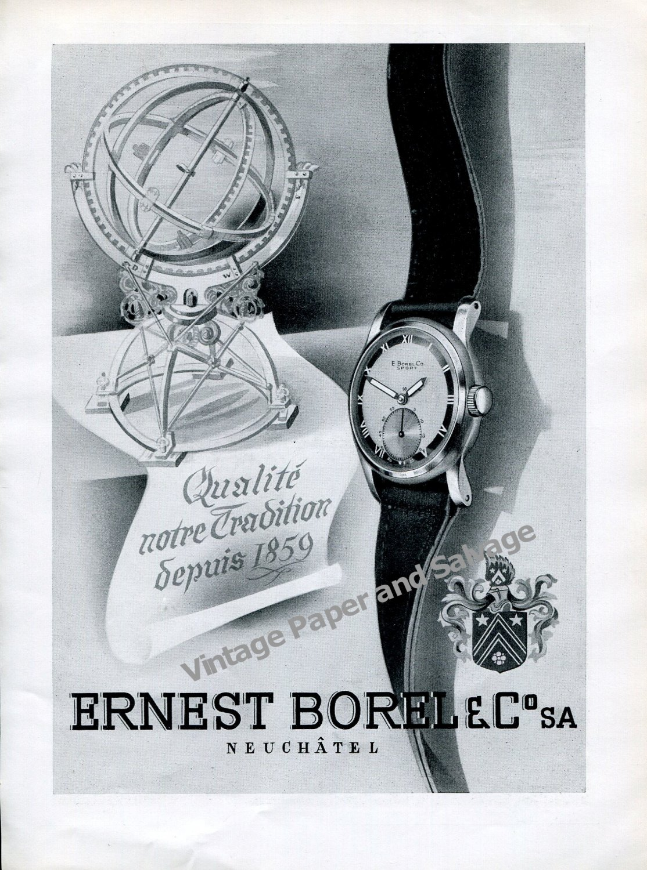 Vintage 1942 Ernest Borel & Co SA Watch Company Switzerland 1940s Swiss Ad Advert Suisse