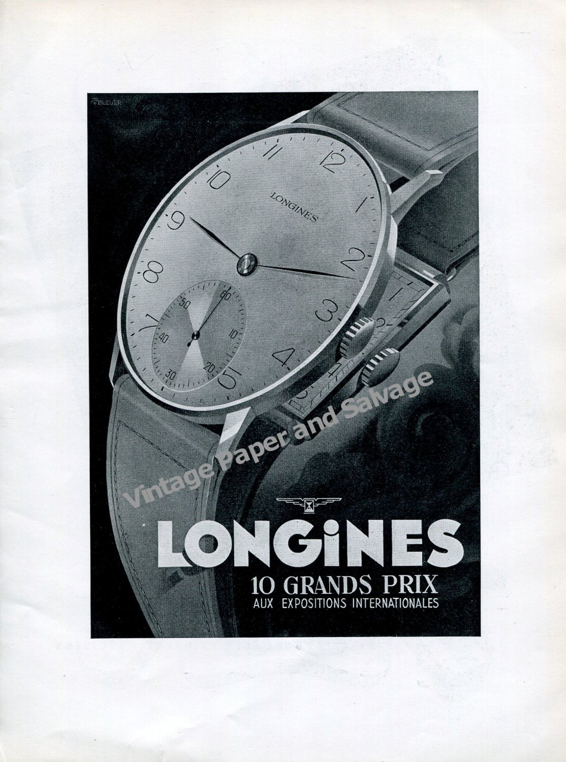 Vintage 1942 Longines Watch Co 10 Grand Prix aux Expositions Internationales Swiss Ad Advert Suisse