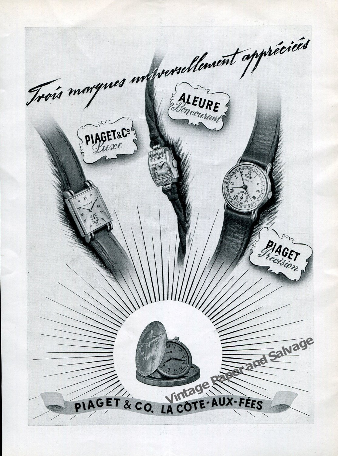 Vintage 1942 Piaget & Co La Cote-Aux-Fees Switzerland 1940s Swiss Ad Advert Suisse