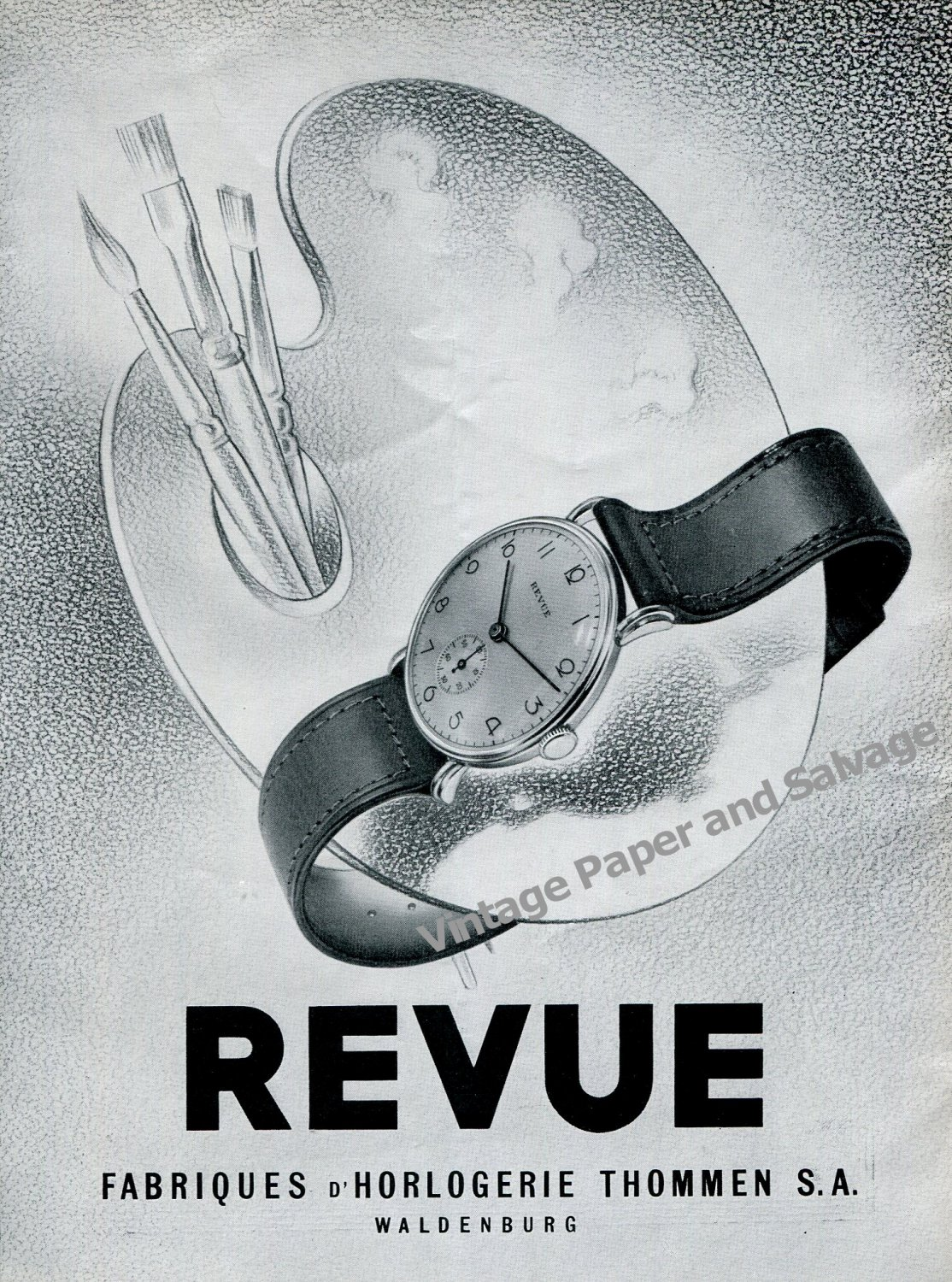 Vintage 1942 Revue Thommen SA Watch Company Waldenburg Switzerland 1940s Swiss Ad Advert Suisse