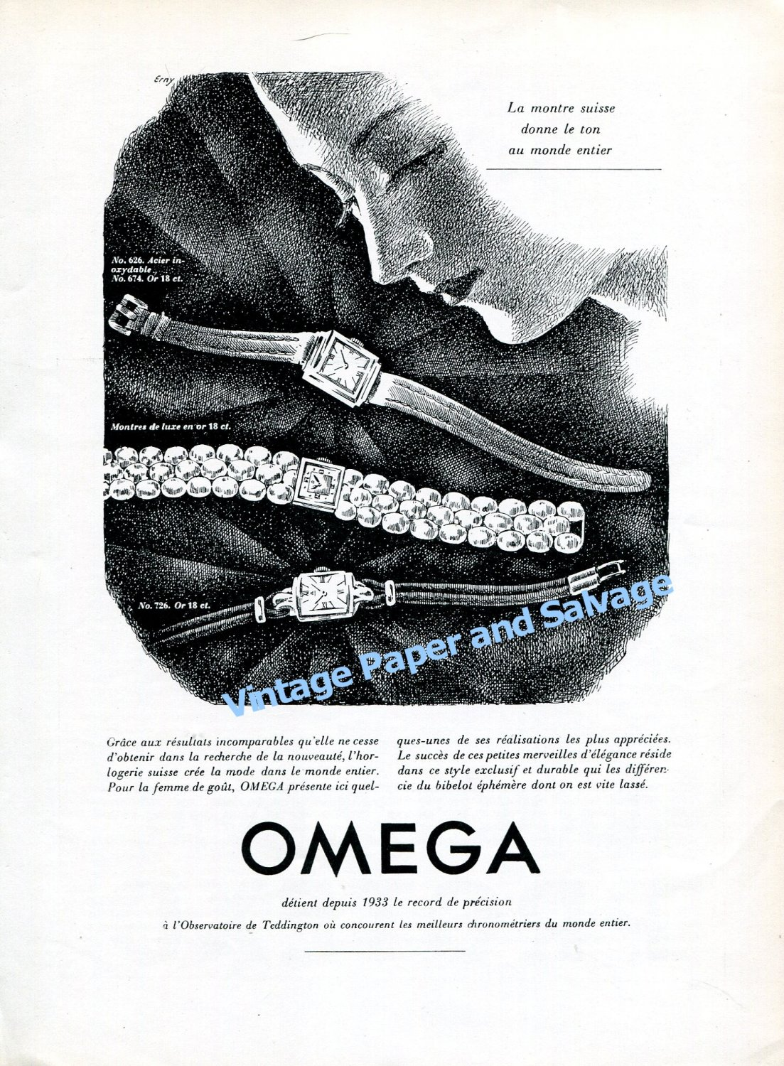 Vintage 1943 Omega Watch Company Switzerland 1940s Swiss Print Ad Suisse OmegaCH