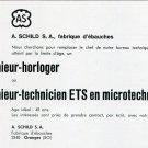 1969 A Schild SA Ebauches Employment Advertisement Swiss Advert Switzerland