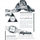 Vintage 1954 Alpina Automatic Watch Advert Or Resplendissant Swiss Print Ad Switzerland
