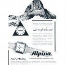 Vintage 1954 Alpina Automatic Watch Advert Or Resplendissant Swiss Print Ad Switzerland