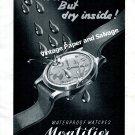 Vintage 1943 Montilier Waterproof Watch Advert 1940s Swiss Print Ad Switzerland Suisse
