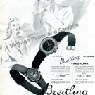 1943 Breitling Chronomat Watch Advert Vintage 1940s Swiss Print Ad Breitling Watch Co