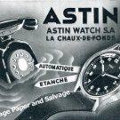 Vintage 1943 Astin Watch Company Switzerland 1940s Swiss Print Ad Advert Suisse CH