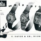 Vintage 1943 Hafis Watch Company F. Suter & Co Switzerland 1940s Swiss Print Ad Suisse