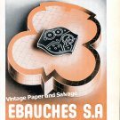 Vintage 1945 Ebauches SA Neuchatel Switzerland 1940s Swiss Print Ad Suisse Horlogerie Horology