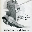 Vintage 1945 Montilier Watch Co SA The Right Line for the Right Man 1940s Swiss Print Ad Advert