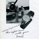 Vintage 1945 Piaget Watch Company The Right Time with Your Piaget Air Pilot Swiss Print Ad Advert