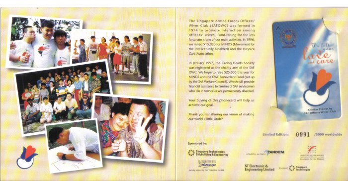 SAF CARE Phonecard (mint) Set of 1. Limited Edition