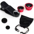 (Red) Clip Lens 3-in-1, Fish eye, Wide Angle, Macro, for moblie camera