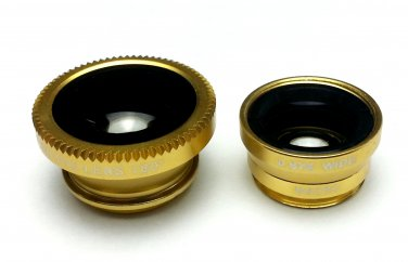 (Yellow) Clip Lens 3-in-1, Fish eye, Wide Angle, Macro, for moblie camera