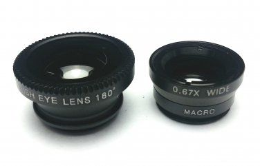 (Black) Clip Lens 3-in-1, Fish eye, Wide Angle, Macro, for moblie camera