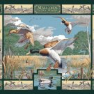 WILDLIFE PRINTS FABRIC PANEL 45 INCH BY 36 INCH Mallards In Marsh WALL HANGING